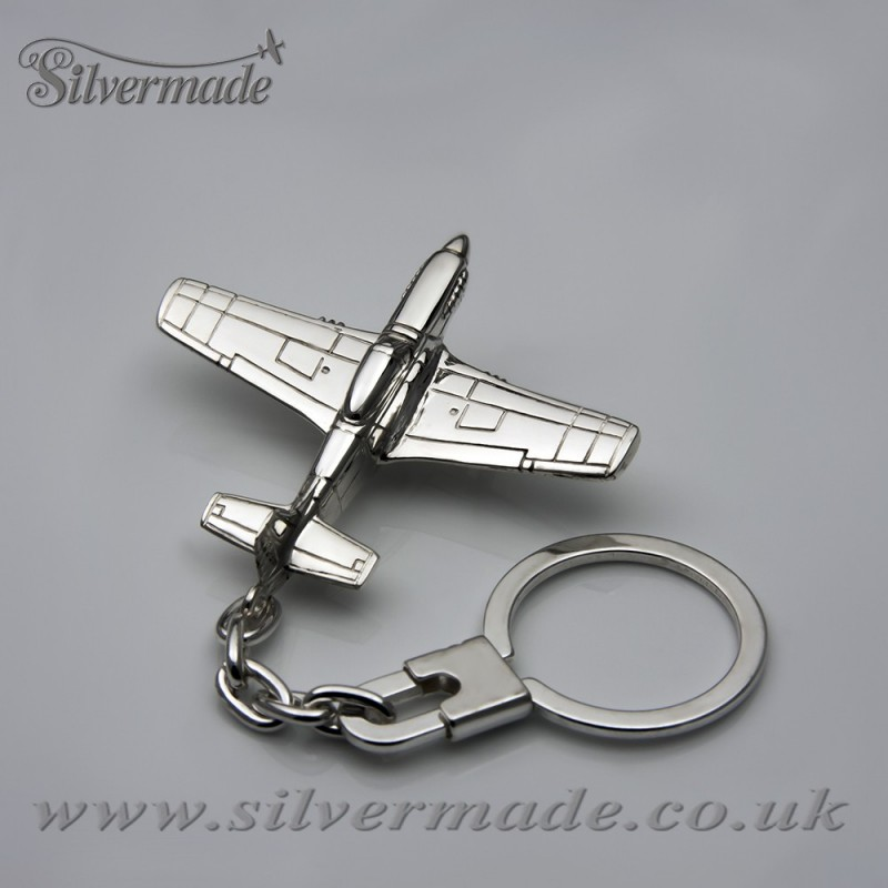 Sterling silver airplane keychain Mustang