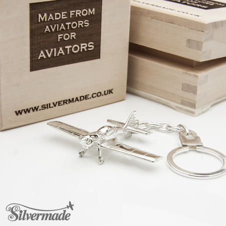 Sterling silver airplane keychain Zlin-50