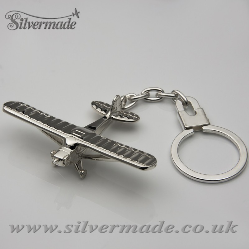 Sterling silver airplane keychain Piper-CUB