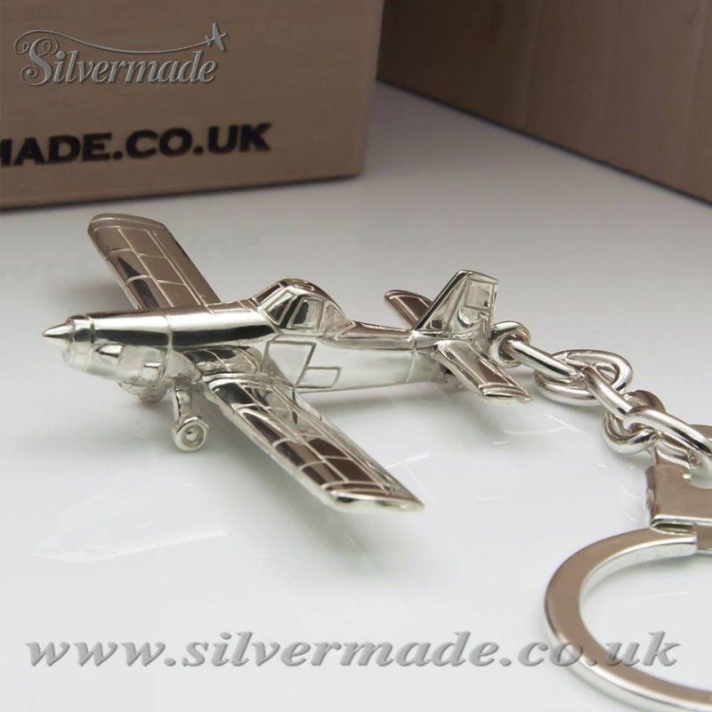 Sterling silver airplane keychain Air Tractor