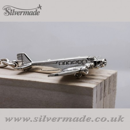 Sterling silver airplane keychain Junkers Ju-52