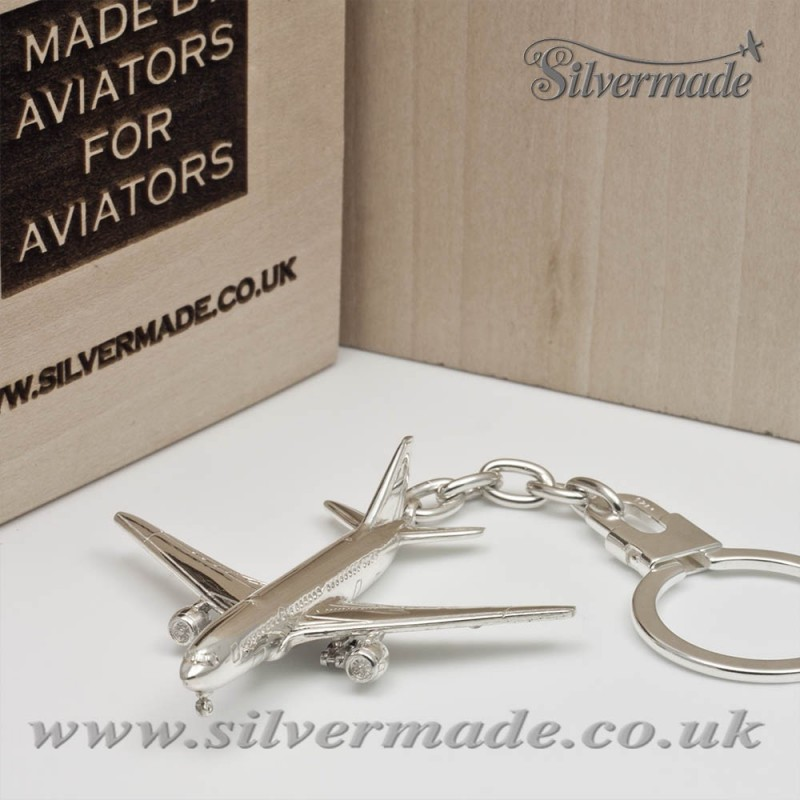Sterling silver airplane keychain Boeing 777