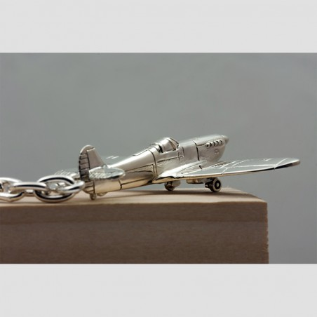 Sterling silver airplane keychain Spitfire