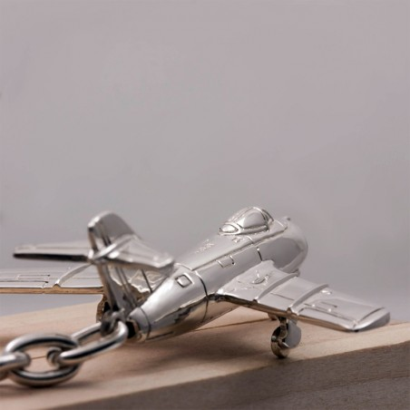 Sterling silver airplane keychain Mig-15