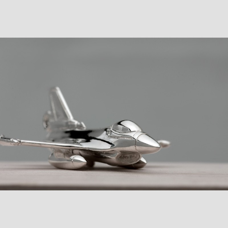 Sterling silver airplane keychain F-16
