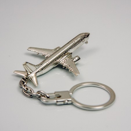 Sterling silver airplane keychain Boeing 737
