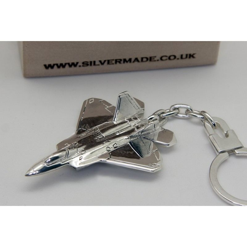 Sterling silver airplane keychain F-22 Raptor